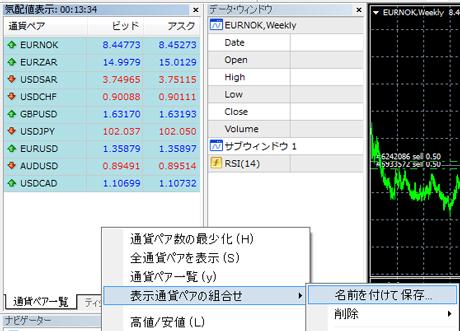 MT4 表示通貨ペアの組合せ5